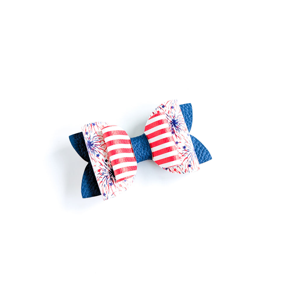 "Fireworks and Stripes 3.5"" Classic Bow"