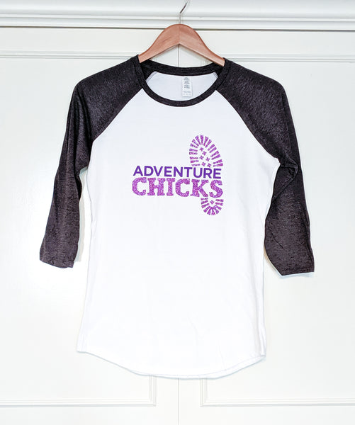 Adventure Chicks White Gray Raglan 3/4 Sleeve