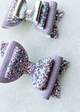 Purple and Silver Classic bows