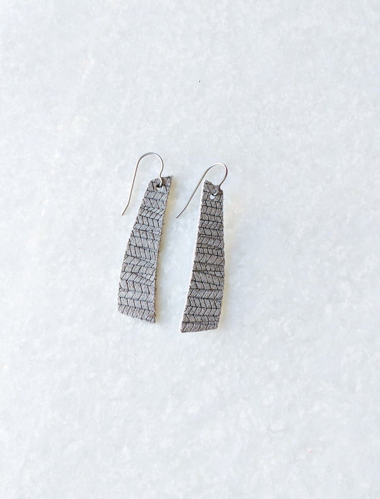 Grey palm leaf embossed Contempo Earrings