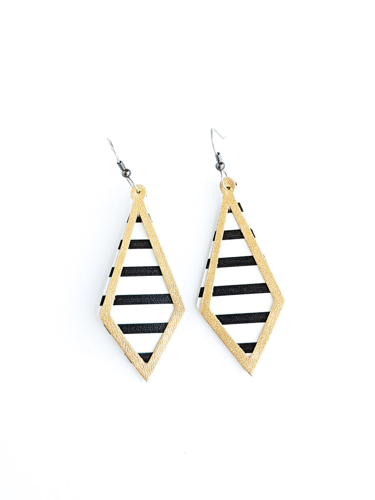 Black and White Stripes with Gold On Point Earrings