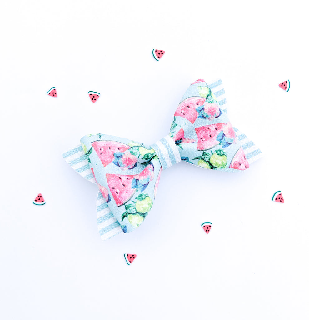 Watermelon Hibiscus Princess Bow 3.5""
