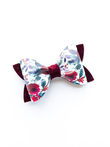 Christmas Floral Princess Bow 3.5""