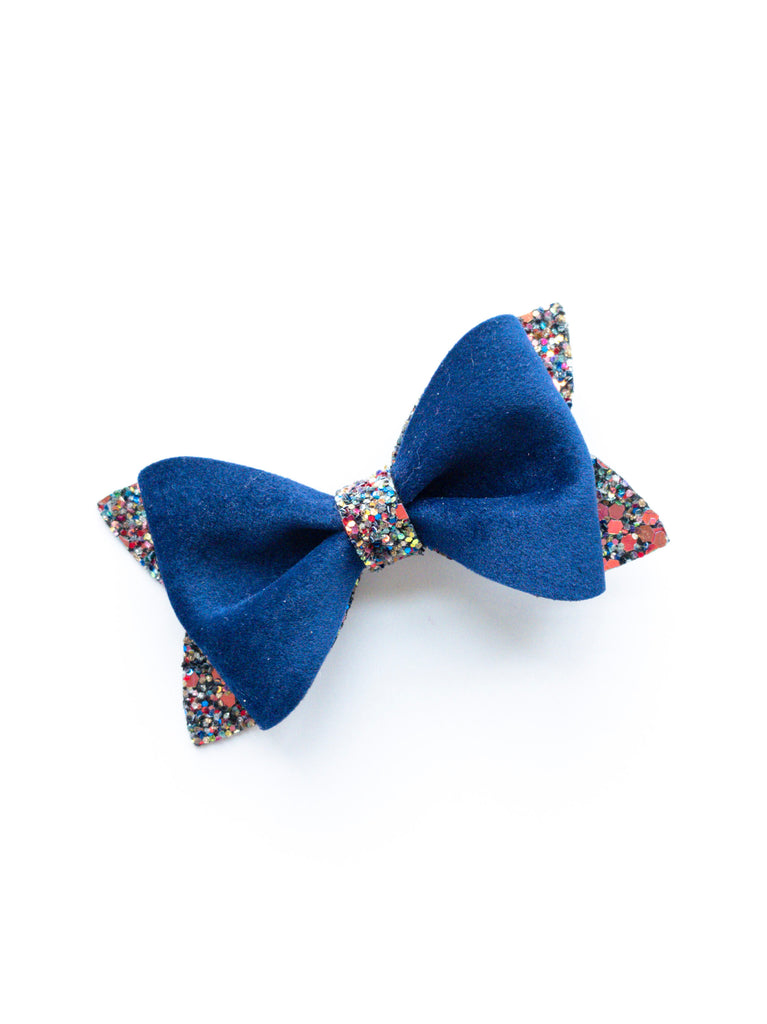 Blue Velvet Princess Bow 3.5""