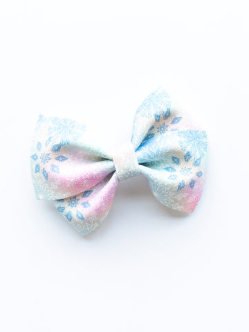Pastel Snowflakes Loopy Bow