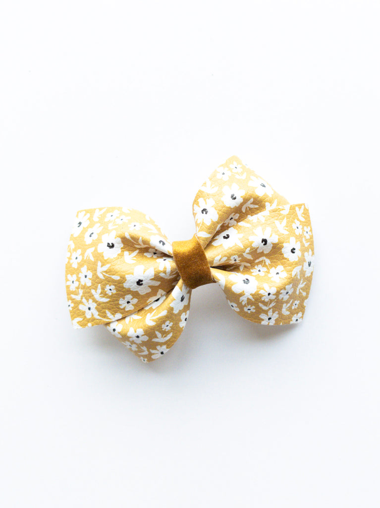 Mustard Floral Loopy Bow