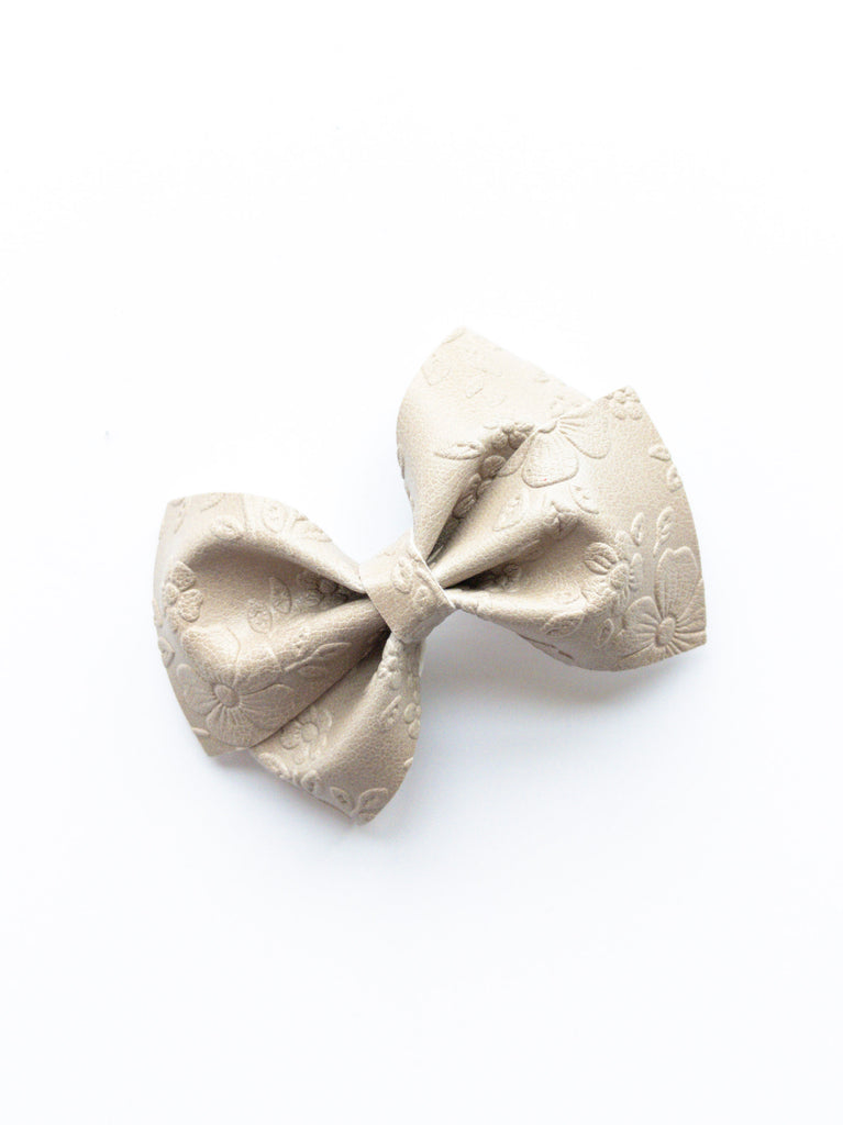 Floral Embossed Loopy Bow