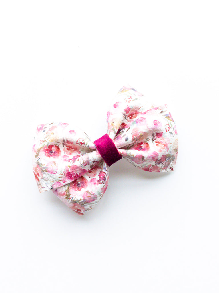 Winter Floral Loopy Bow