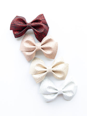 Metallic Stripes Loopy Bow
