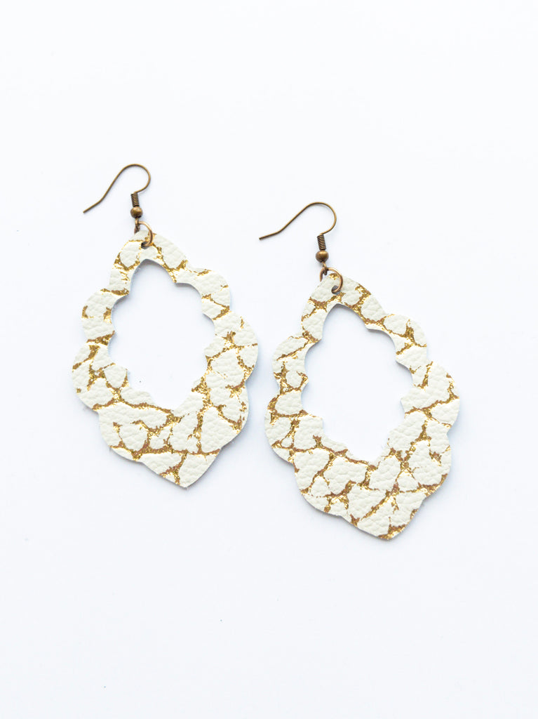 Gold and Ivory Scallop Earrings