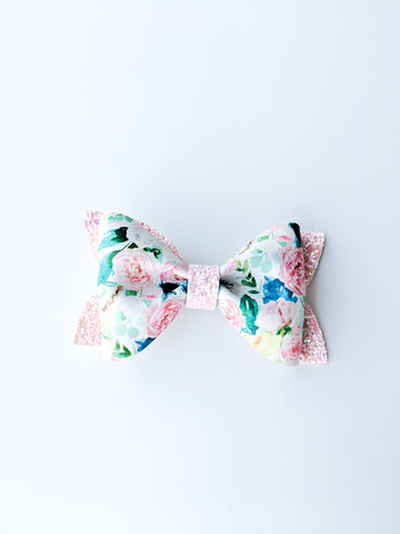Floral & Pink Gingham Princess Bow 3.5""