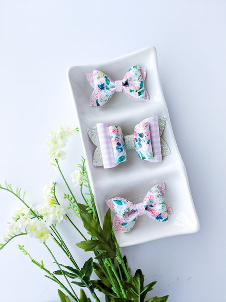 Floral & Pink Gingham Classic Bow 4.5""