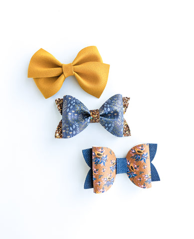 Yellow and blue birdy Bow Set