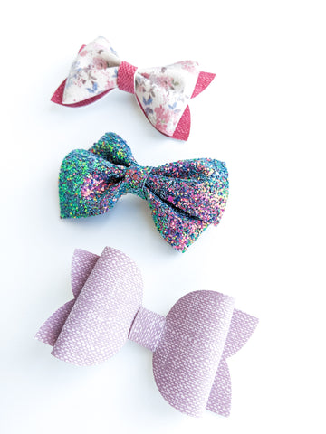 Pink and Lavender Wildflowers Bow Set