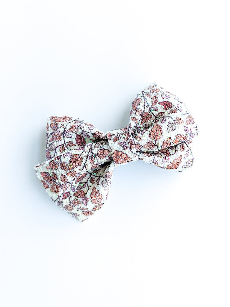 Sugared Fall Leaves Glitter Loopy Bow