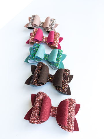 Glitter and Suede Classic Bows 3.5""