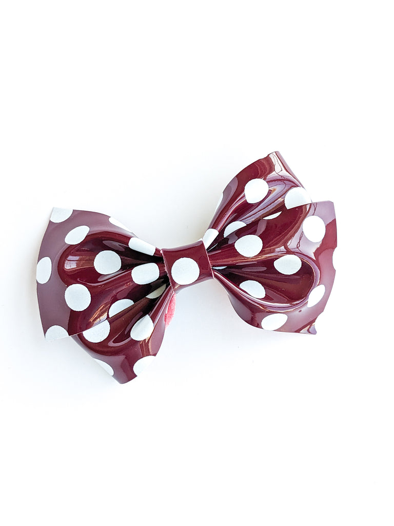 Maroon and White Polka Dot Patent Loopy Bow