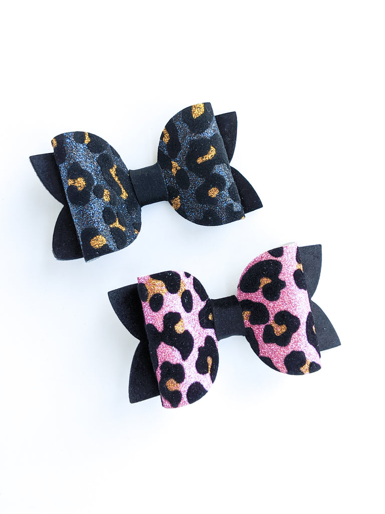 Leopard and Velvet Classic Bows 3.5""