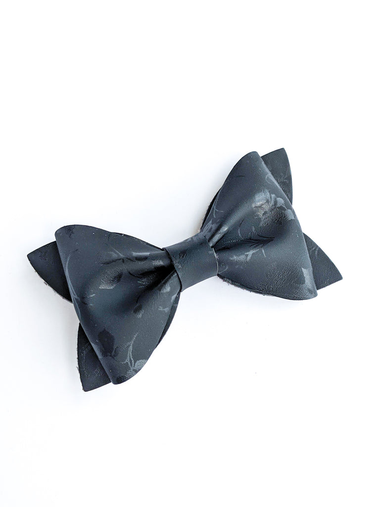 Black Satin Floral Princess Bow 3.5""