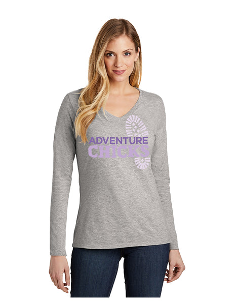Adventure Chicks Long Sleeve V-Neck Tee In Stock