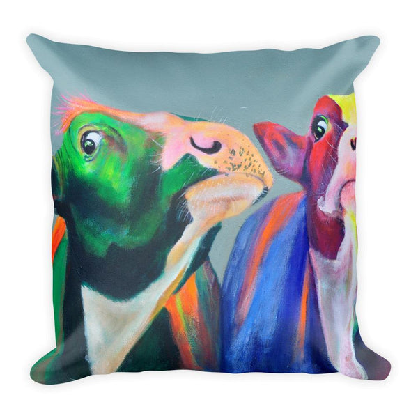 Green Eyed Cow Square Pillow