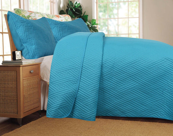 Solid Turquoise Teal Blue Thin & Lightweight Reversible Quilted Coverlet Bedspread Set (LH3000)