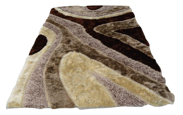 Three Dimensional 3D Curved Print Brown and White Chocolate Super Soft Plush Shaggy Viscose Carpet Rug