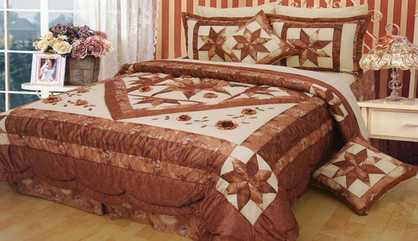 Diamond of Night Embellished Brown Beige Floral Stars Ruffles Bedspread Comforter Set (BM915L)