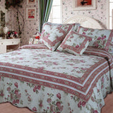 French Country Floral Mauve Pink Cottage Cotton Real Patchwork Reversible Quilted Coverlet Bedspread Set (DXJ103136)
