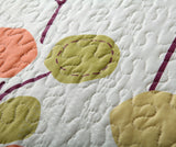 Polka Dots Vineyard Orange & White Reversible Quilted Coverlet Bedspread Set (KBJ1628)