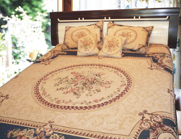 Navy Blue Elegant Victorian Soft Chenille Floral Medallion Woven Tapestry Coverlet Bedspread Set (YFJF-D-001-1)