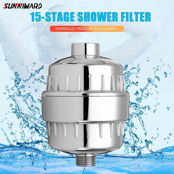 15 Stage Bath Water Purifier Bathroom Shower Filter 1/2'' Health Softener Chlorine Removal High Output Universal Water Treatment