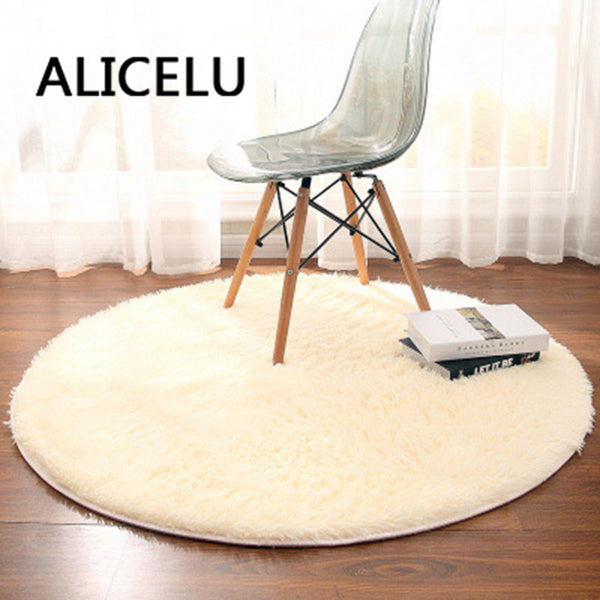 Machine Washable Round Color Soft Shaggy Living Room Rug