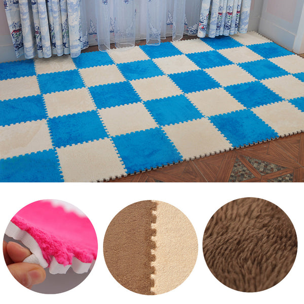 8pcs Soft Velvet Carpet Floor Mats Warm Puzzle Baby Crawling Mat