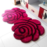 3D Flower Shaggy Round Carpet Mats For Home Living Room