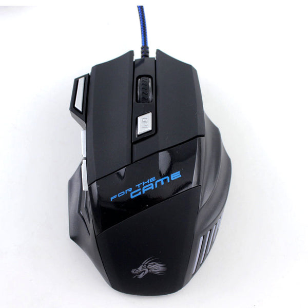 Wired Gaming Mouse With 5500DPI Adjustable 7 Buttons Cable USB LED
