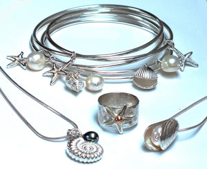 Seashell  and starfish bangles