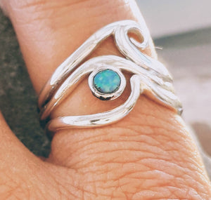 wave opal stacker ring