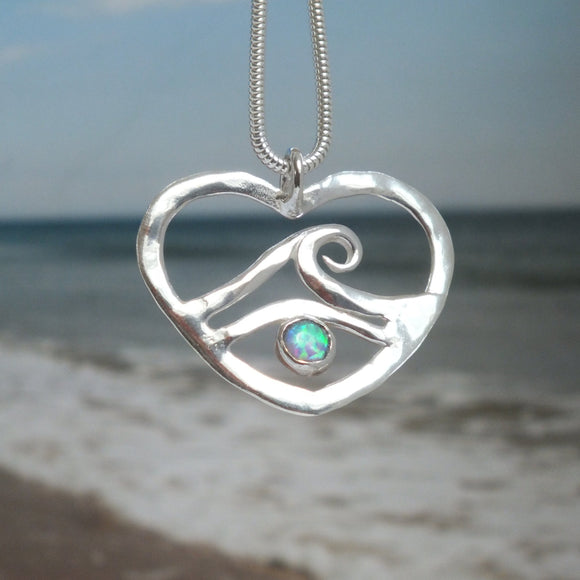 Wave and heart necklace by Pa-pa jewellery