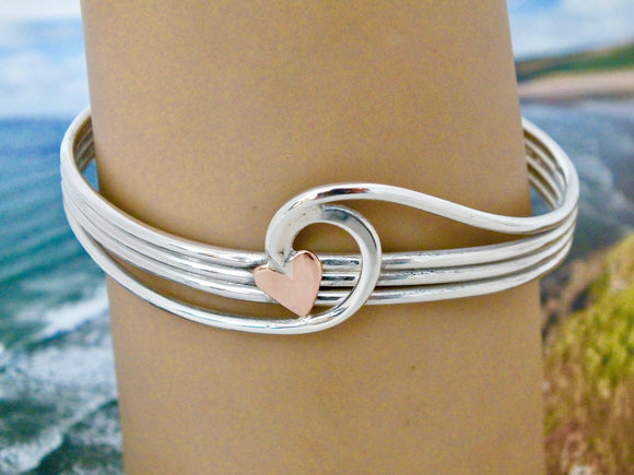 wave cuff bracelet with gold heart