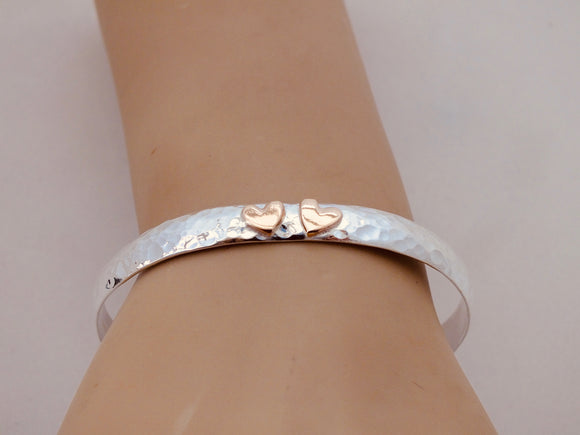 Gold hearts silver cuff bangle