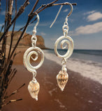 Wave and shell bead earrings