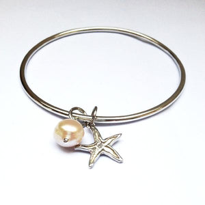 Starfish bangle with white pearl