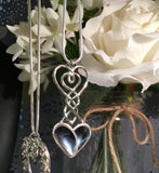 Celtic Love spoon silver mussel shell heart