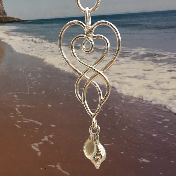 Celtic whelk shell heart necklace