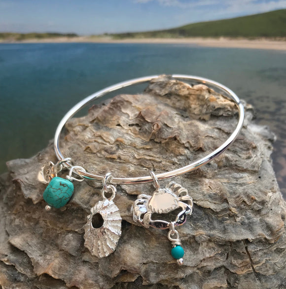 Crab and limpet shell bracelet