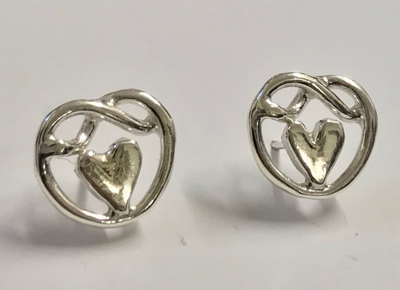 Heart of friendship knot stud earrings