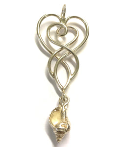 celtic whelk heart necklace
