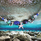 Blue lapis and aquamarine Starfish necklace