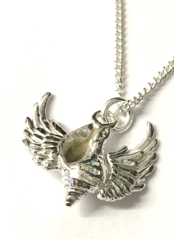 Whelk shell with wings necklace